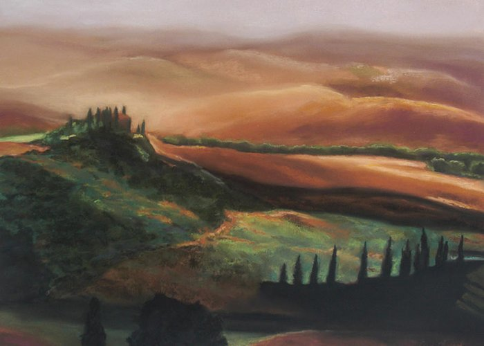 Tuscan Hills Greeting Card featuring the painting Tuscan Hills by Elise Okrend