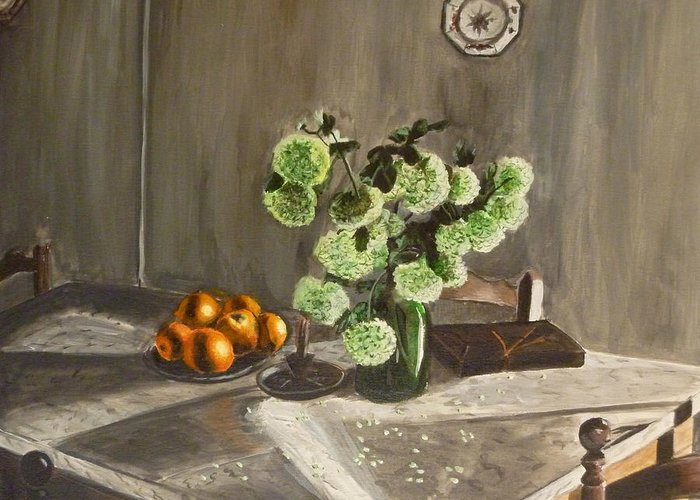 Still Life Greeting Card featuring the painting Tuscan Kitchen by Demian Legg