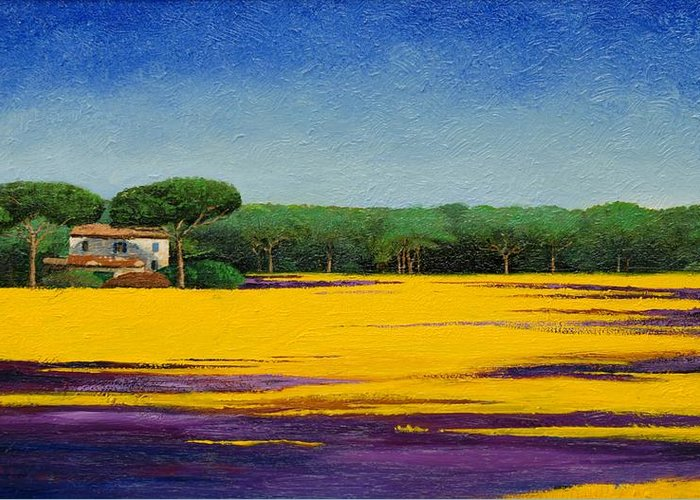 Colourful; Colorful;tuscany; Italian Landscape; Tree Trees; Architecture; Italy; Italian; Landscape; Field; Yellow; Purple; Blue: House; Tranquil; Serene Greeting Card featuring the painting Tuscan Landcape by Trevor Neal