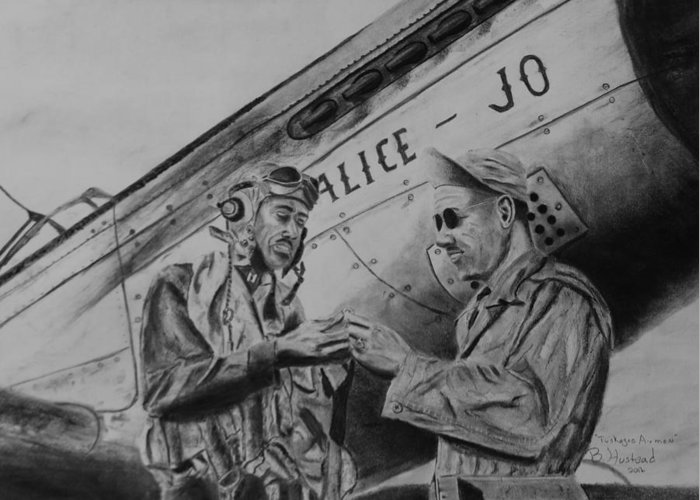Military Aircraft Greeting Card featuring the drawing Tuskegee Airmen by Brian Hustead