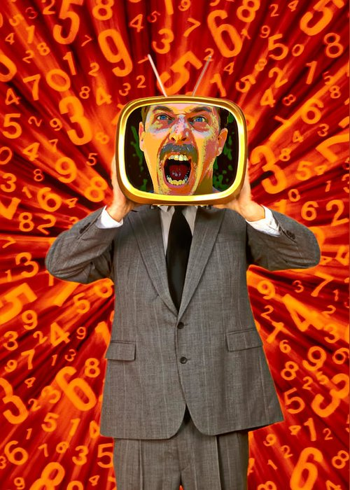 Angry Greeting Card featuring the photograph Tv Man by Garry Gay
