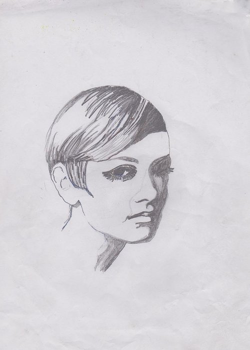 Drawing Greeting Card featuring the photograph Twiggy by Marie Hough