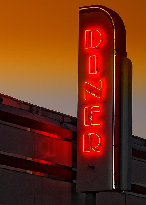 Diner Greeting Card featuring the photograph Twilight Diner by Brian Mollenkopf