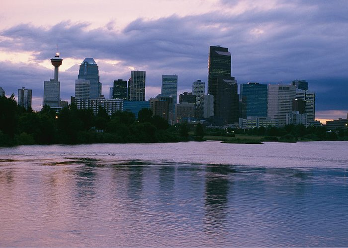 North America Greeting Card featuring the photograph Twilight On The Bow River And Calgary by Michael S. Lewis