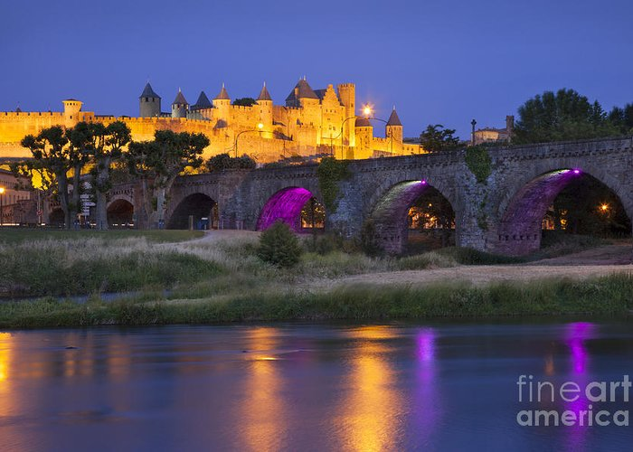 Arch Greeting Card featuring the photograph Twilight Over Carcassonne by Brian Jannsen