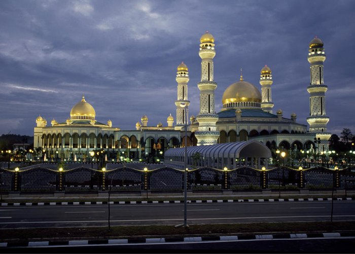 Brunei Greeting Card featuring the photograph Twilight View Of An Illuminated Mosque by Paul Chesley
