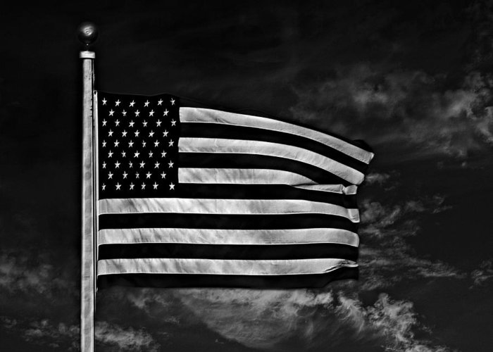 Flag Greeting Card featuring the photograph Twilight's Last Gleaming Bw by David Dehner