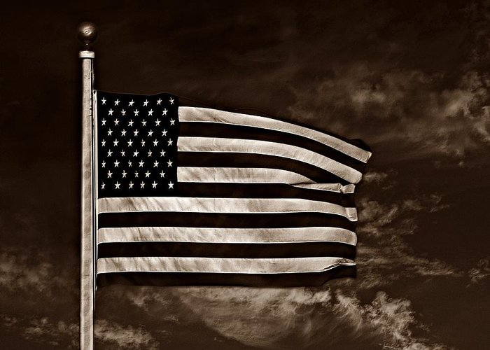 Flag Greeting Card featuring the photograph Twilight's Last Gleaming S by David Dehner