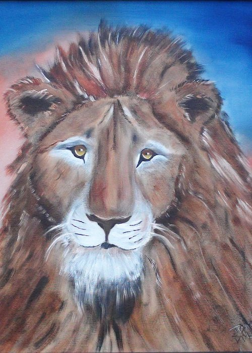 Lion Greeting Card featuring the painting Twilight's Lion by Thomas DOrsi