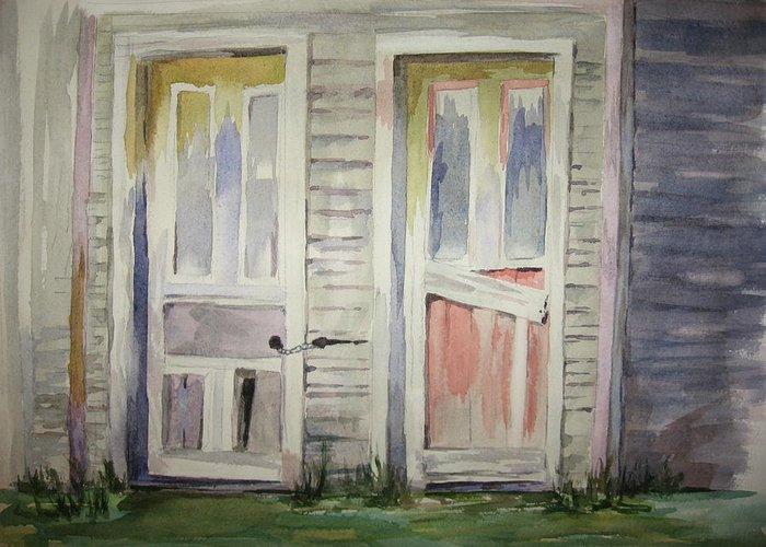 Door Greeting Card featuring the painting Twin Doors by Carol Mueller