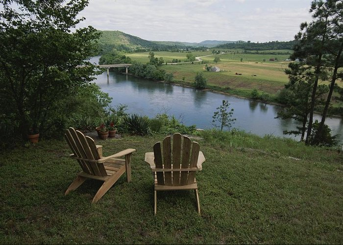 North America Greeting Card featuring the photograph Two Adirondack Chairs On A Scenic by Randy Olson