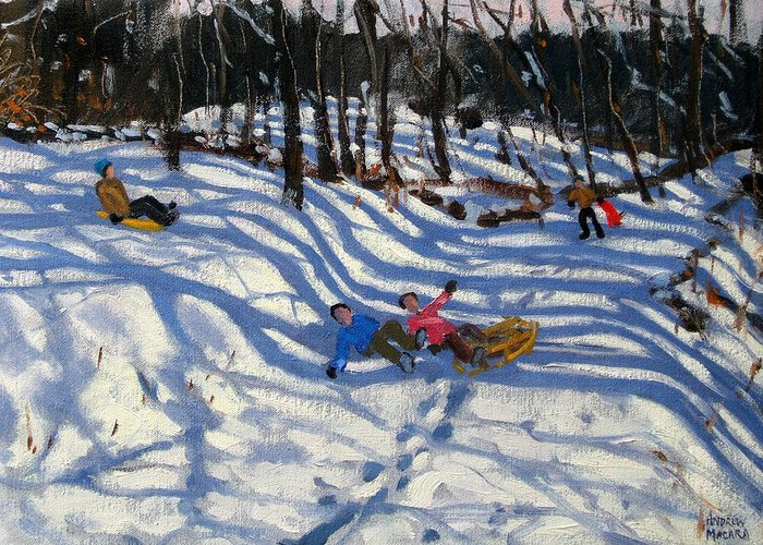 Sledging Greeting Card featuring the painting Two Boys Falling Off A Sledge by Andrew Macara