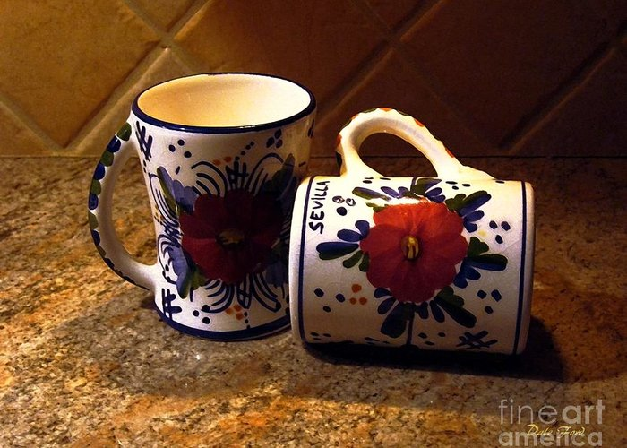 Coffe Cups Greeting Card featuring the digital art Two Cups by Dale  Ford