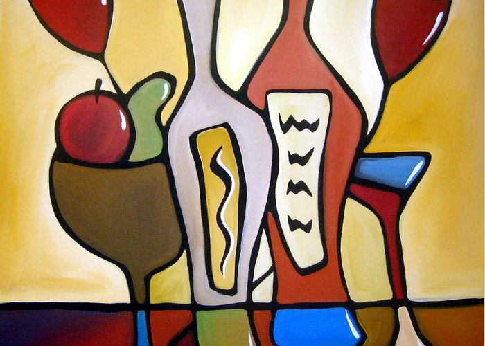 Pop Art Greeting Card featuring the painting Two-fer - Abstract Wine Art By Fidostudio by Tom Fedro - Fidostudio