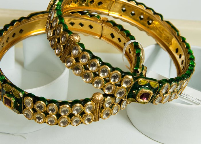 Bangle Greeting Card featuring the photograph Two Green And Gold Bangles On Top Of Each Other by Ashish Agarwal
