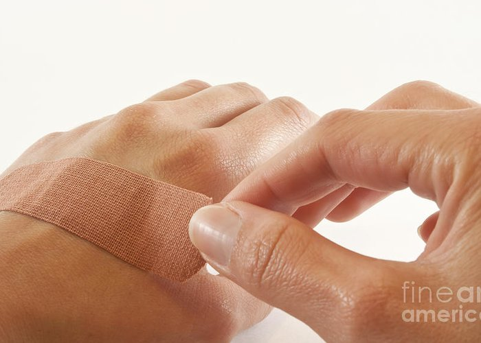Bandage Greeting Card featuring the photograph Two Hands With Bandage by Blink Images