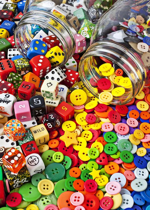 Jar Dice Games Play Numbers Gamble Greeting Card featuring the photograph Two Jars Dice And Buttons by Garry Gay
