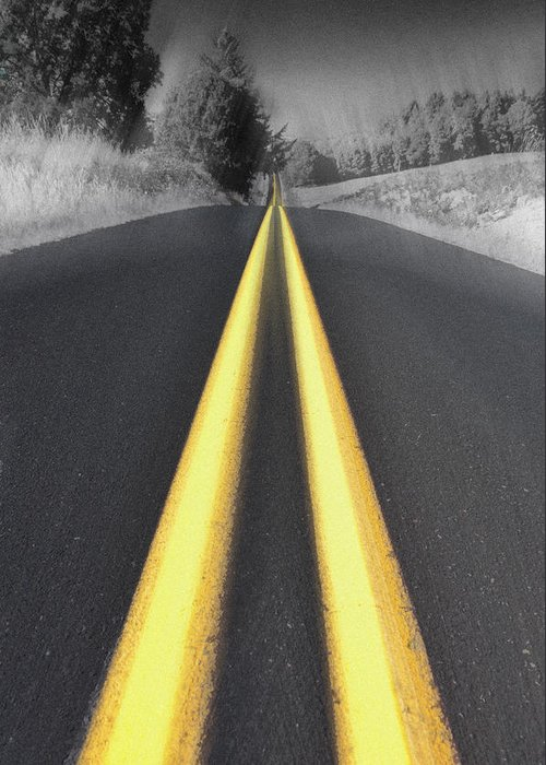 Road Greeting Card featuring the photograph Two-lane Blacktop by Kevin Felts