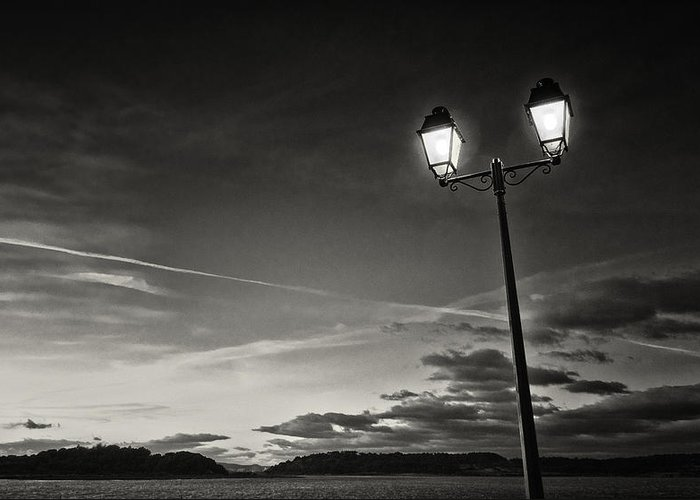 Photography Photographs Greeting Card featuring the photograph Two Lights At The Sunset by Philippe Taka