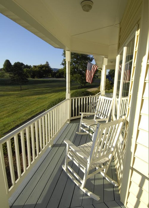 Chairs Greeting Card featuring the photograph Two Rocking Chairs On A Sunlit Porch by Scott Sroka