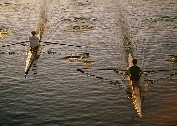 charles River Greeting Card featuring the photograph Two Rowers Paddle Down The Charles by Tim Laman