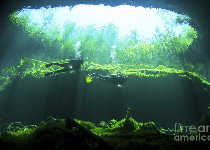 Cavern Greeting Card featuring the photograph Two Scuba Divers In The Cenote System by Karen Doody
