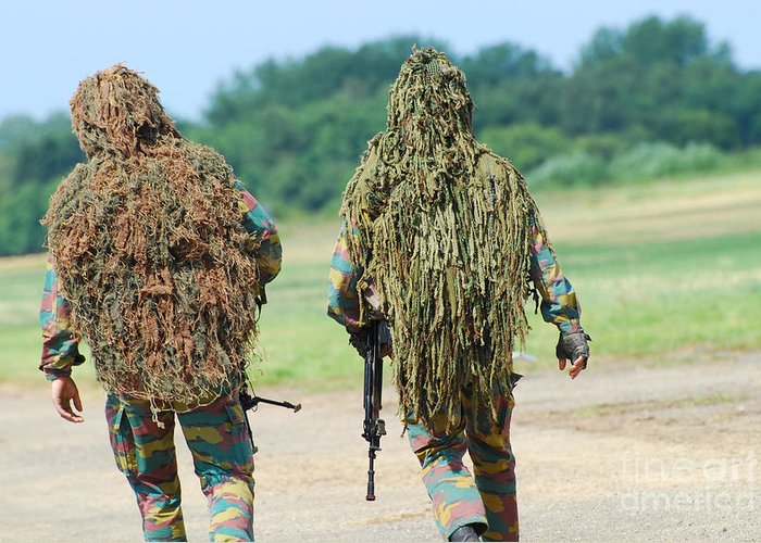 Adults Only Greeting Card featuring the photograph Two Snipers Of The Belgian Army Dressed by Luc De Jaeger