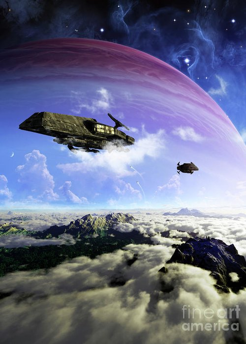 Artwork Greeting Card featuring the digital art Two Spacecraft Prepare To Depart by Brian Christensen