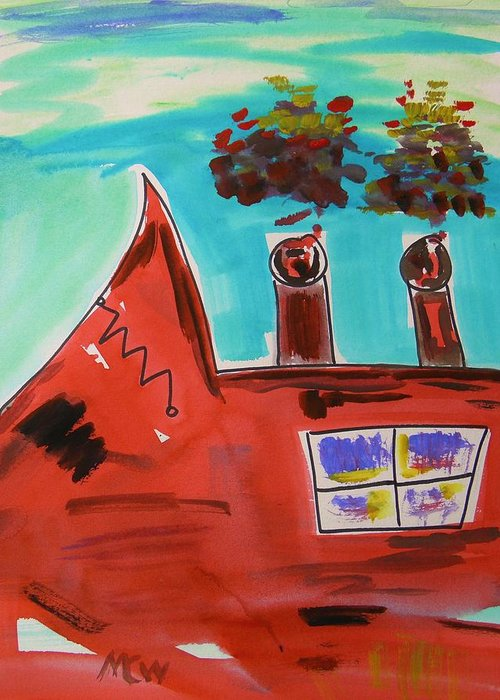 Steel Mill Greeting Card featuring the painting Two Stacks Mini Mill by Mary Carol Williams