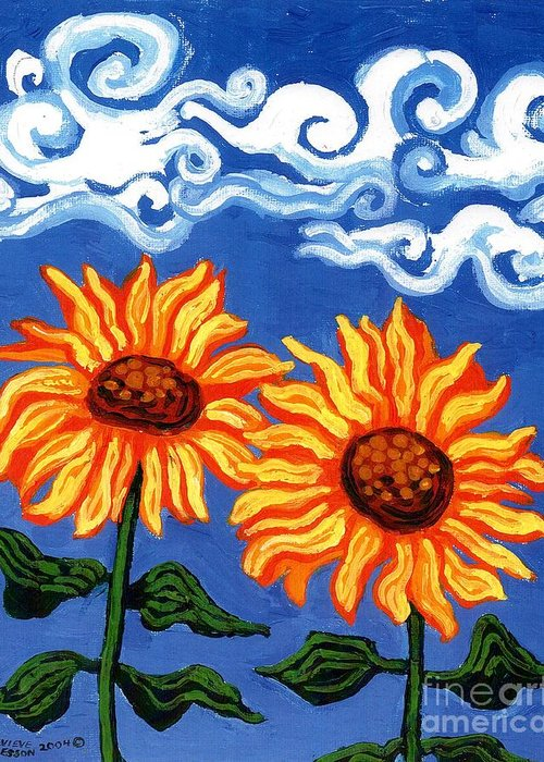 Sunflower Greeting Card featuring the painting Two Sunflowers by Genevieve Esson