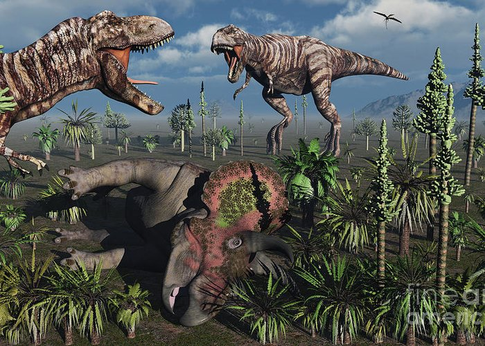 Growl Greeting Card featuring the digital art Two T. Rex Dinosaurs Confront Each by Mark Stevenson