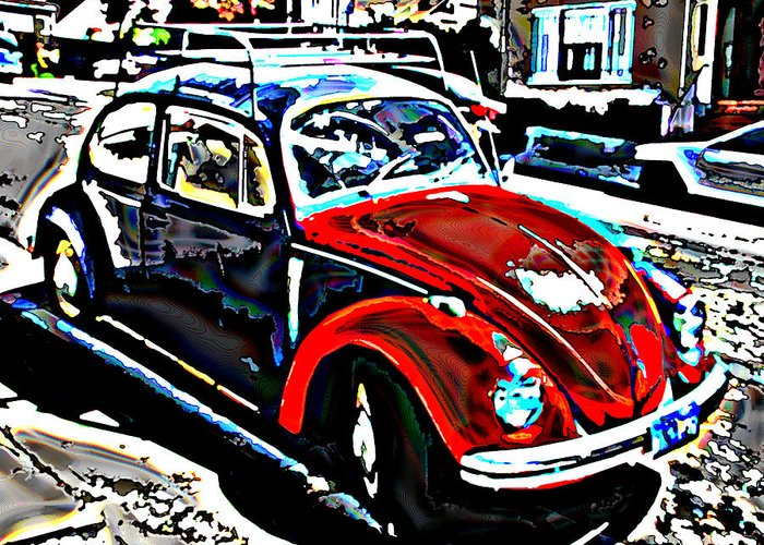 Two Tone Greeting Card featuring the photograph Two Toned Vw Beetle by Samuel Sheats