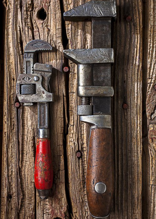Two Wrenches Greeting Card featuring the photograph Two Wrenches by Garry Gay