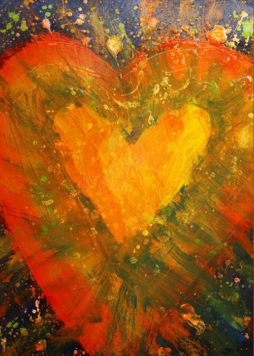 Hearts Desire Greeting Card featuring the painting Tye Dye Heart by James Briones