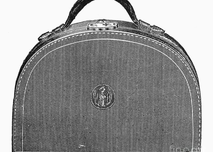 1889 Greeting Card featuring the photograph Typewriter Case, 1889 by Granger