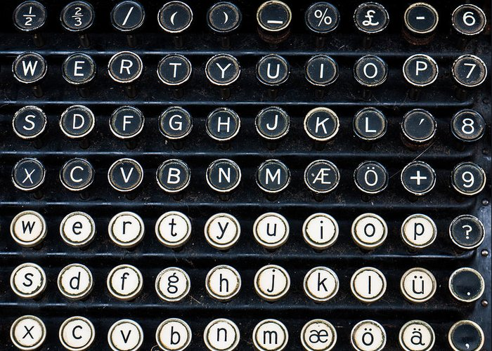 Typewriter Greeting Card featuring the photograph Typewriter Keyboard by Hakon Soreide