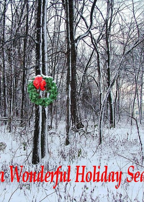 Greeting Card featuring the photograph Tyra's Woods At Christmas by Julie Dant
