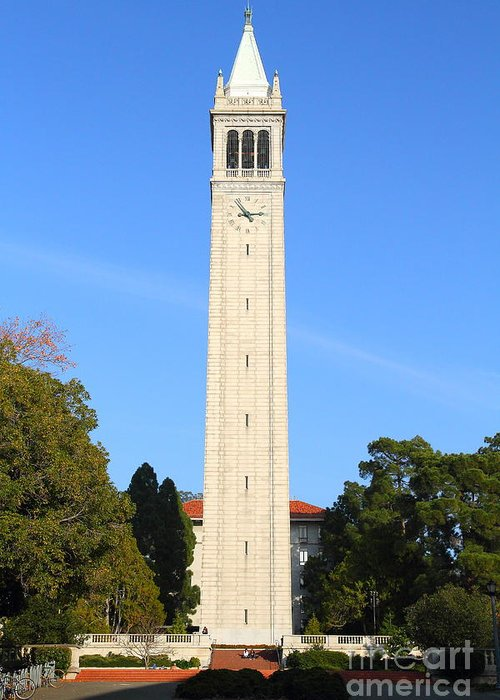 Architecture Greeting Card featuring the photograph Uc Berkeley . Sather Tower . The Campanile . 7d10050 by Wingsdomain Art and Photography