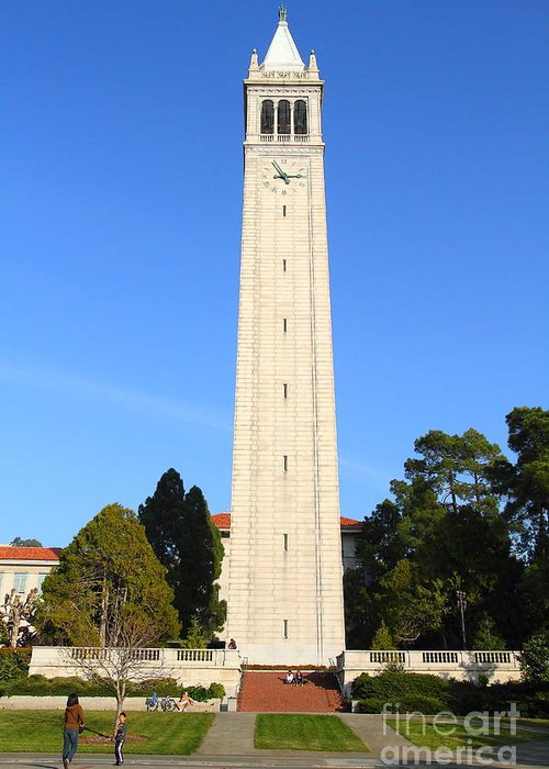 Architecture Greeting Card featuring the photograph Uc Berkeley . Sather Tower . The Campanile . Clock Tower . 7d10059 by Wingsdomain Art and Photography