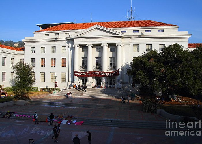 Sproul Greeting Card featuring the photograph Uc Berkeley . Sproul Hall . Sproul Plaza . Occupy Uc Berkeley . 7d10004 by Wingsdomain Art and Photography