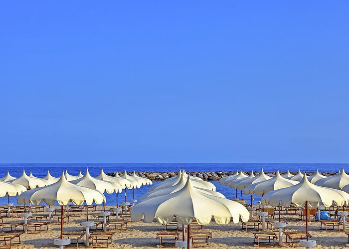 Liguria Greeting Card featuring the photograph Umbrellas In The Sun by Joana Kruse
