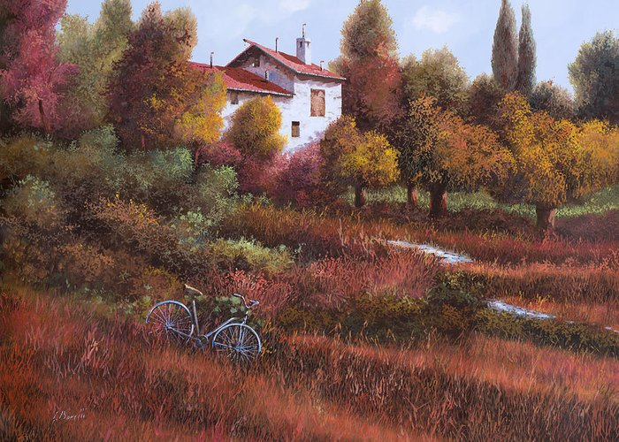 Bike.wood Greeting Card featuring the painting Una Bicicletta Nel Bosco by Guido Borelli