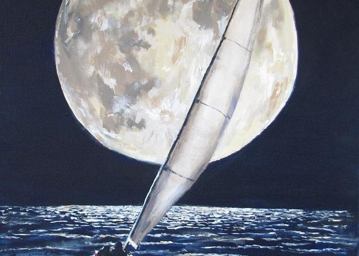 Sailboat Ocean Greeting Card featuring the painting Under Full Sail..under Full Moon by Jack Skinner