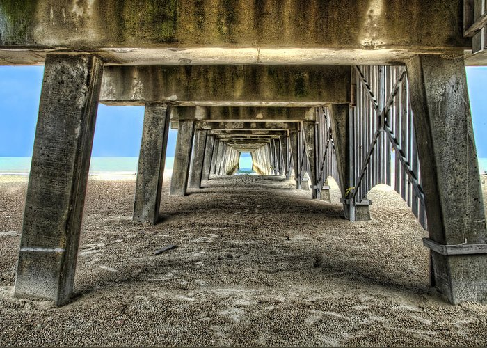 Tybee Greeting Card featuring the photograph Under The Pier On Tybee Island by Tammy Wetzel