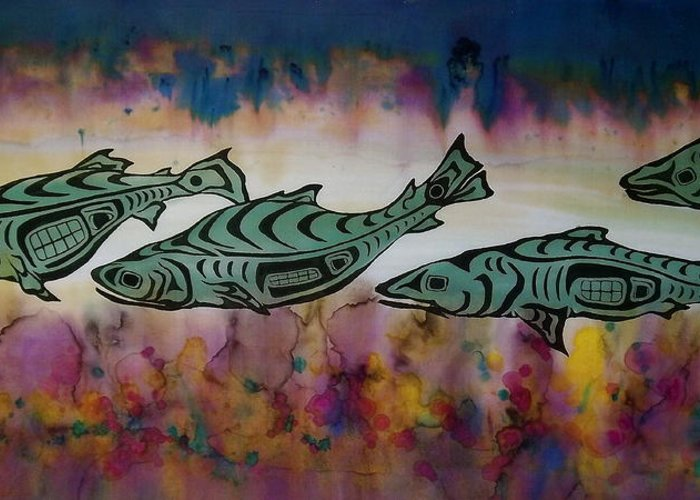 Underwater Greeting Card featuring the tapestry - textile Underwater Color by Carolyn Doe