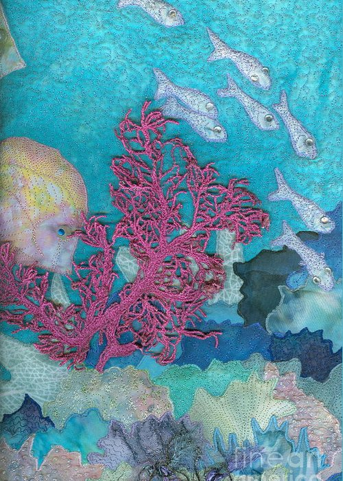 Aquatic Greeting Card featuring the tapestry - textile Underwater Splendor I by Denise Hoag