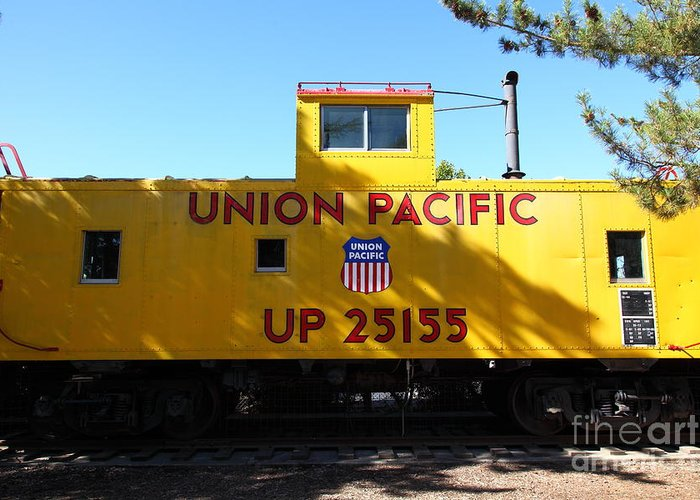 Transportation Greeting Card featuring the photograph Union Pacific Caboose - 5d19206 by Wingsdomain Art and Photography