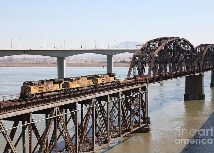 Transportation Greeting Card featuring the photograph Union Pacific Locomotive Trains Riding Atop The Old Benicia-martinez Train Bridge . 5d18850 by Wingsdomain Art and Photography