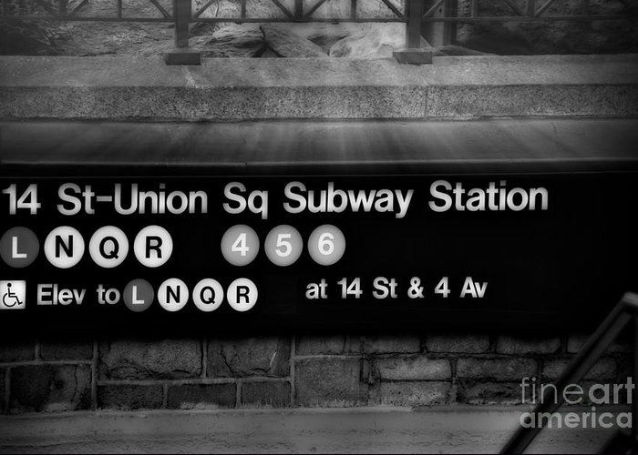Union Square Greeting Card featuring the photograph Union Square Subway Station Bw by Susan Candelario