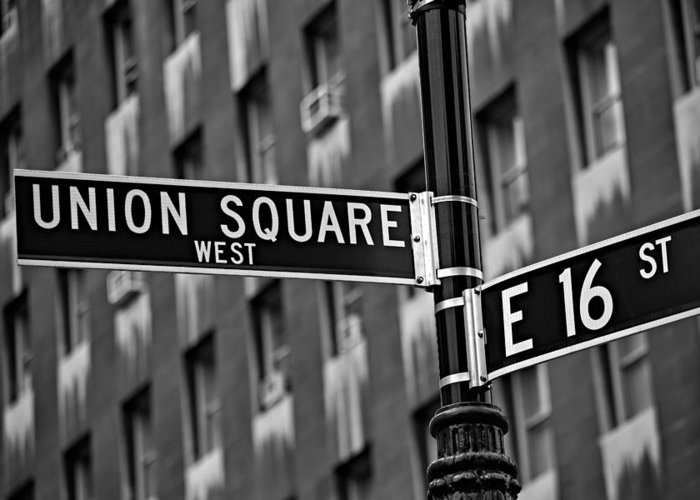 Union Square Greeting Card featuring the photograph Union Square West by Susan Candelario